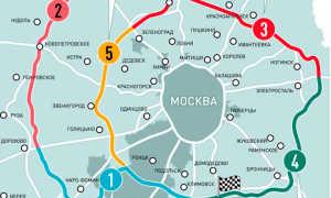 ЦКАД на подробной карте Московской области детально